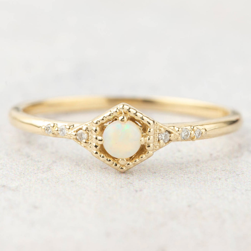 Decorative Hexagon Opal Ring -3mm