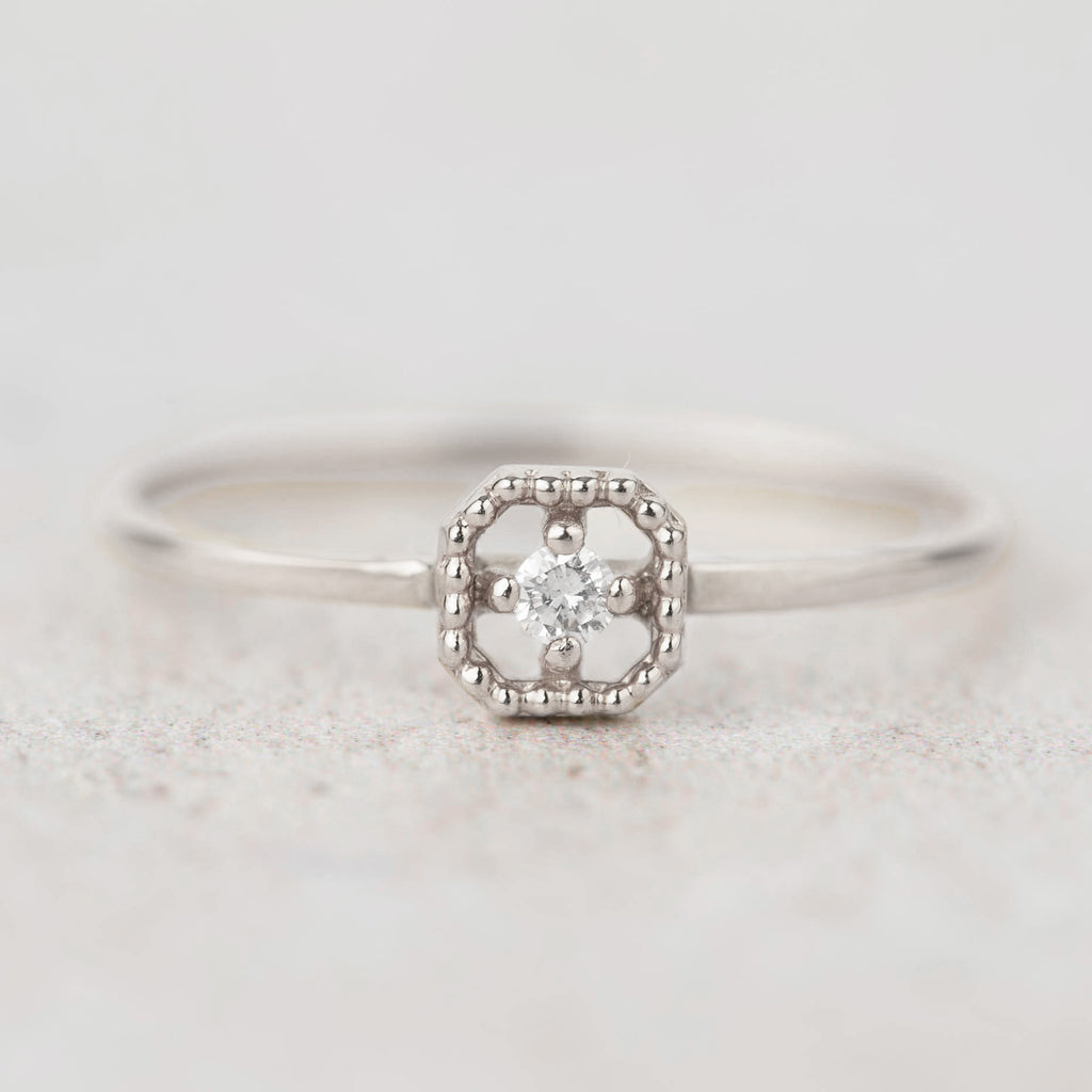 Milgrain Square Diamond Ring