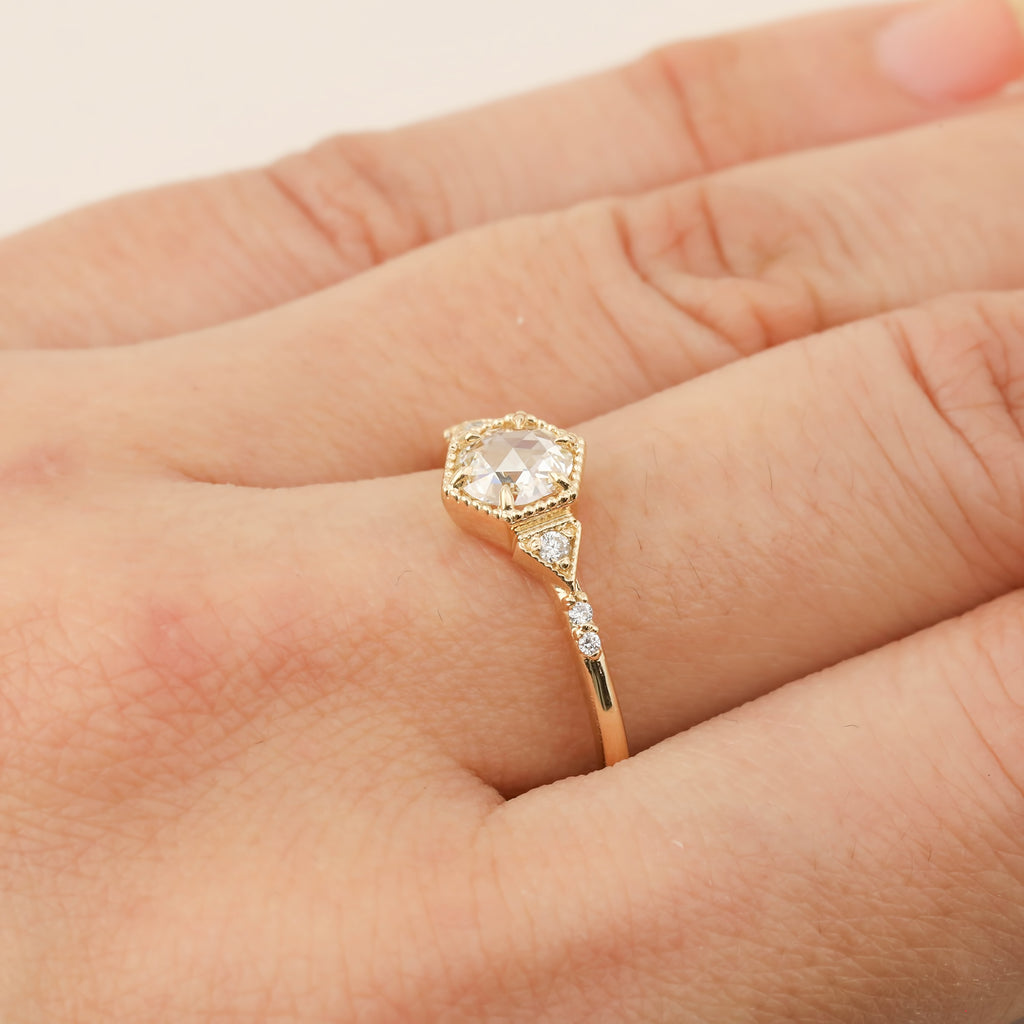 Agatha Ring - 0.40ct Round Rose Cut Diamond (One of a kind)
