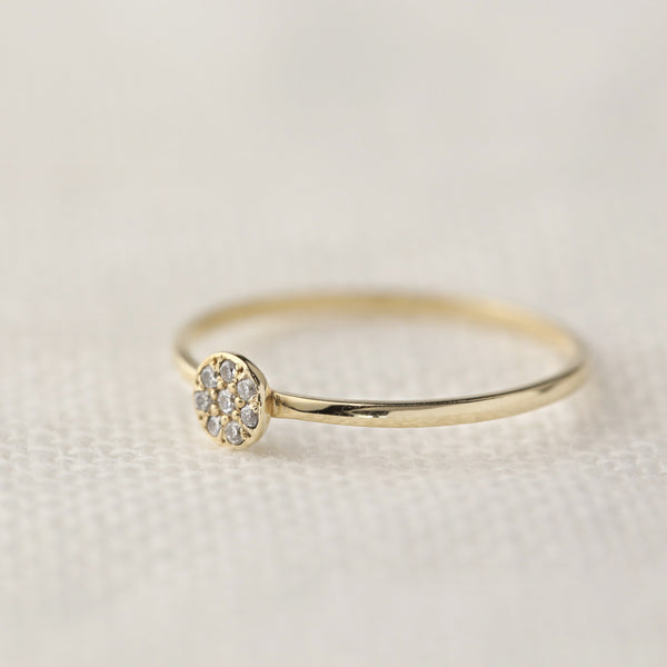 Pave Diamond Moon Ring