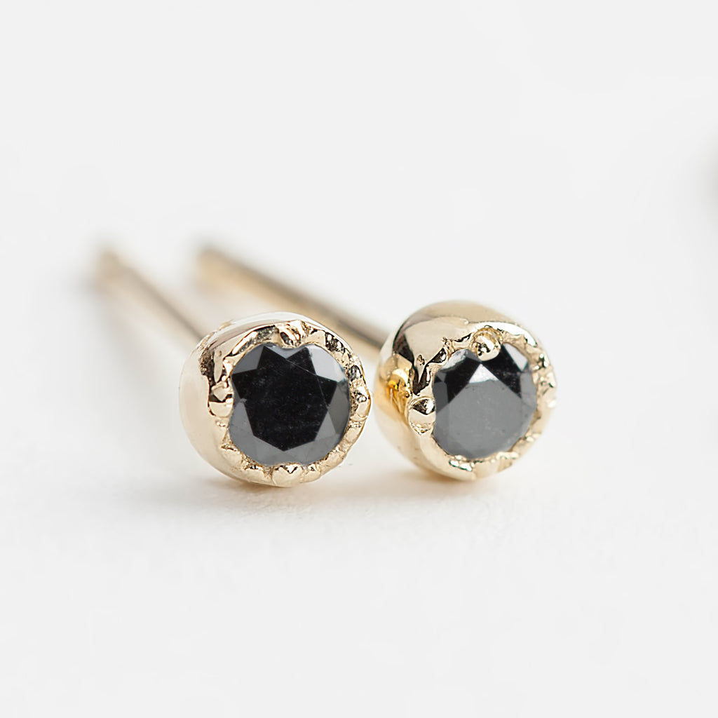 Dahlia Stud Earrings - Black Diamond