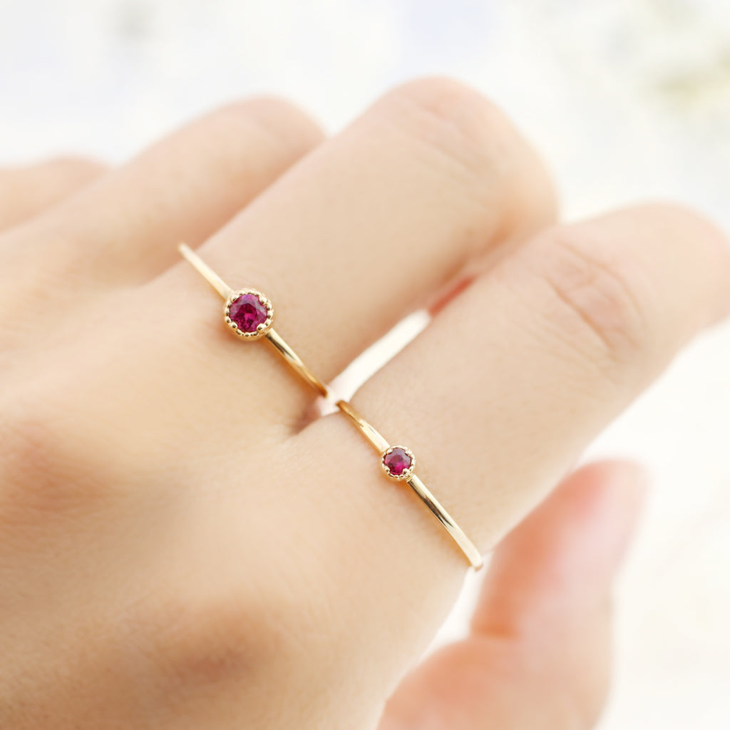 Dahlia Solitaire Ring - Ruby