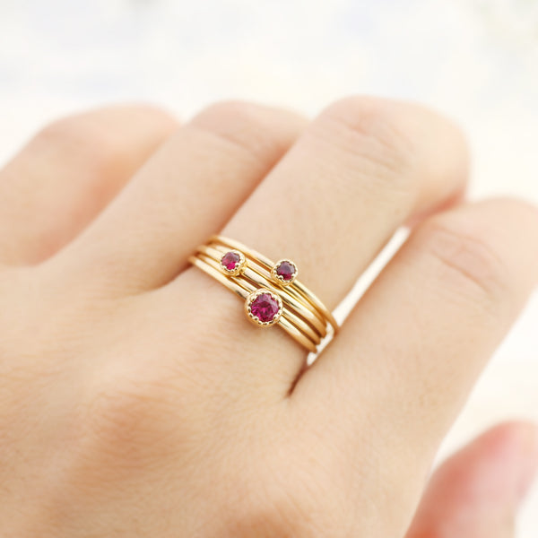 Dahlia Solitaire Ring - 2mm~3mm Ruby