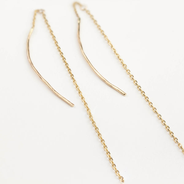 Gold Streaks Chain Threader Earrings