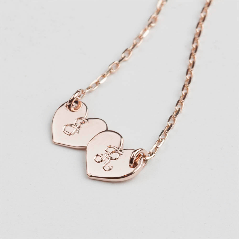 Two Initial Heart Necklace (Small)