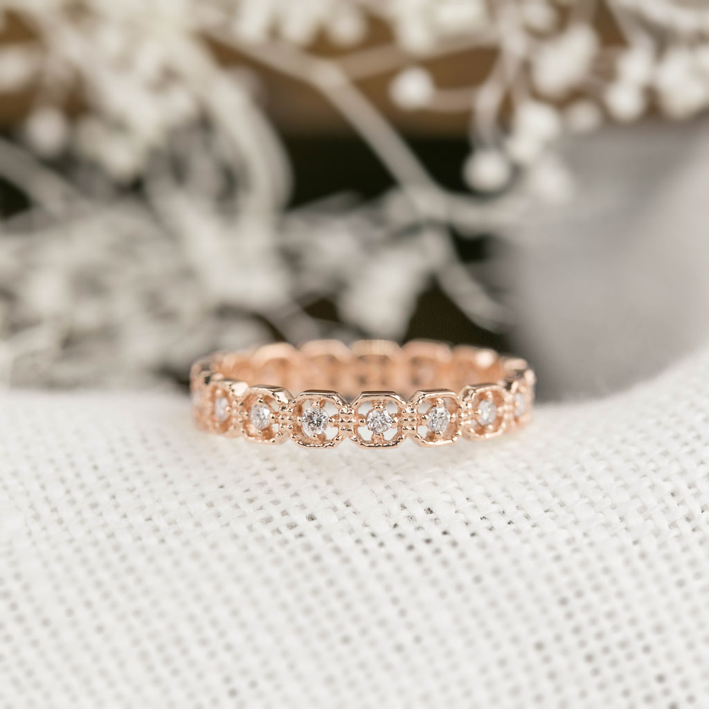 Milgrain Square Diamond Eternity Ring