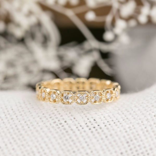 Milgrain Square Eternity Ring