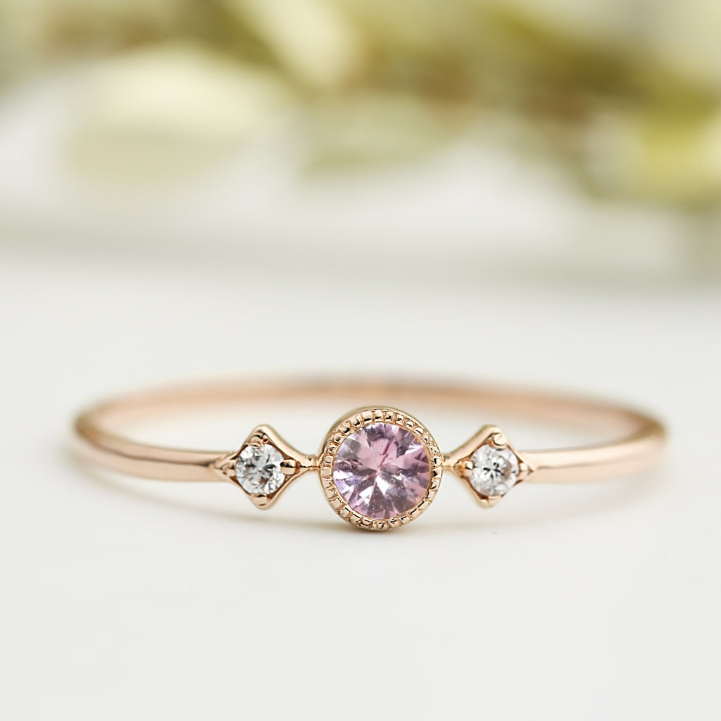 September - Pink Sapphire Star & Moon Ring