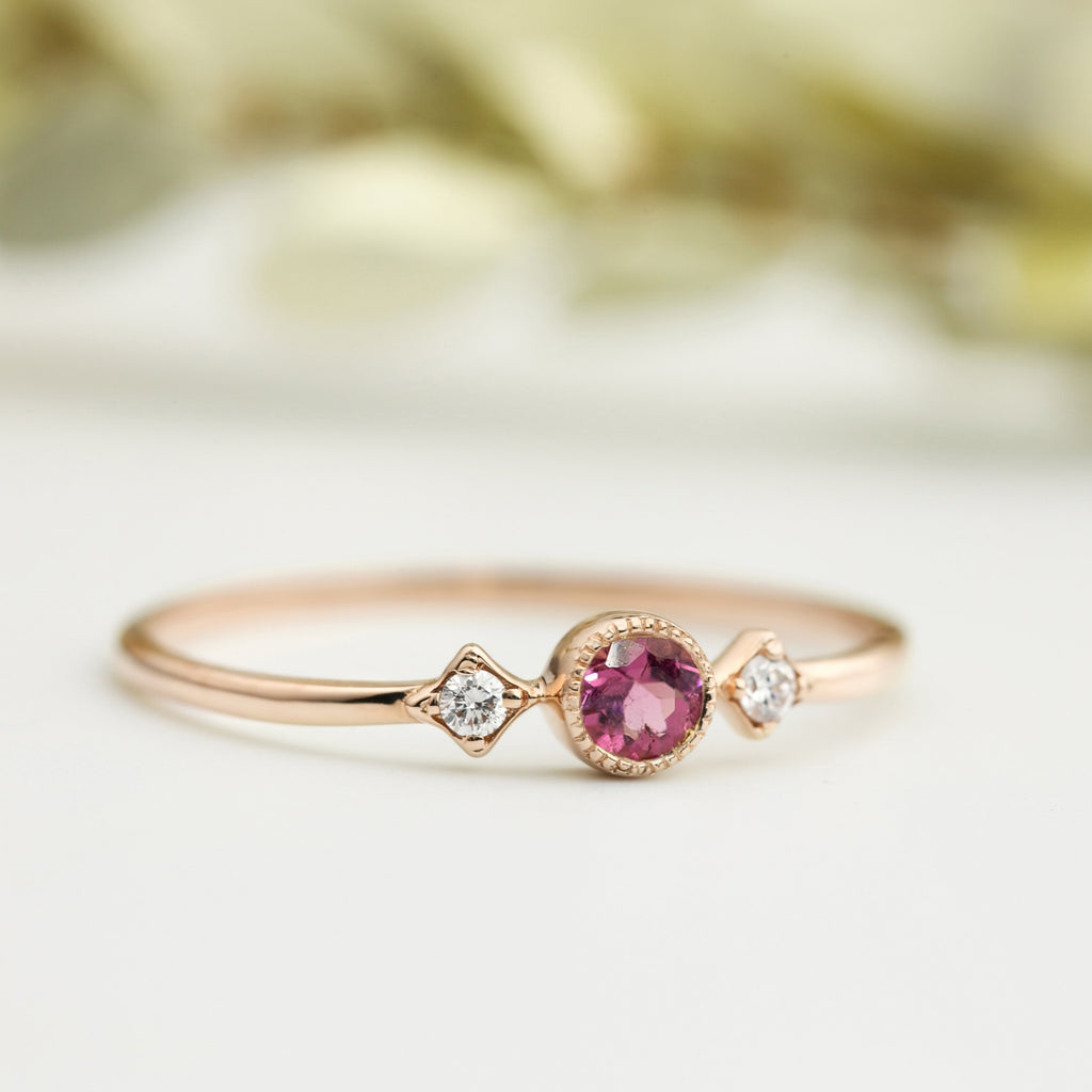 October - Pink Tourmaline Star & Moon Ring