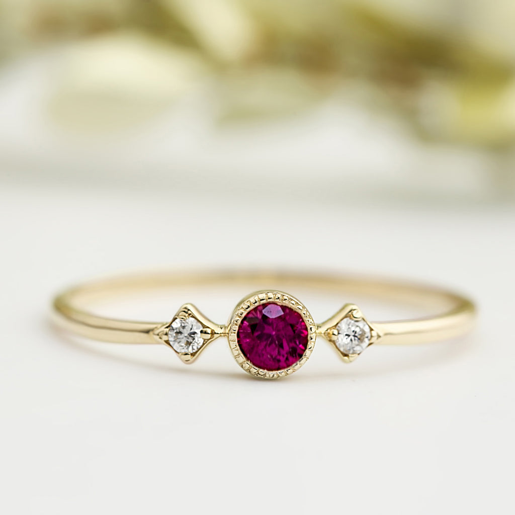 July - Ruby Star & Moon Ring