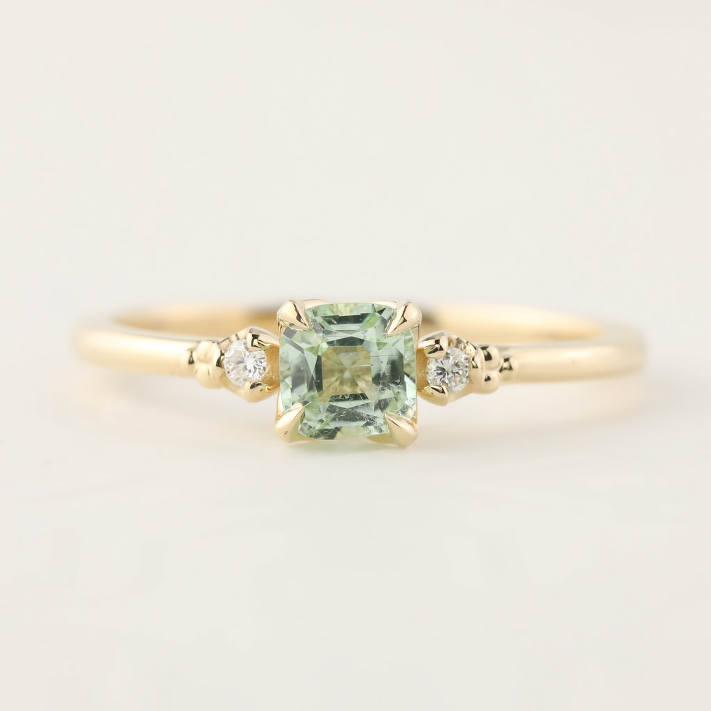 Estel Ring - 0.5ct Radiant Cut Mint Tourmaline (One of a kind)