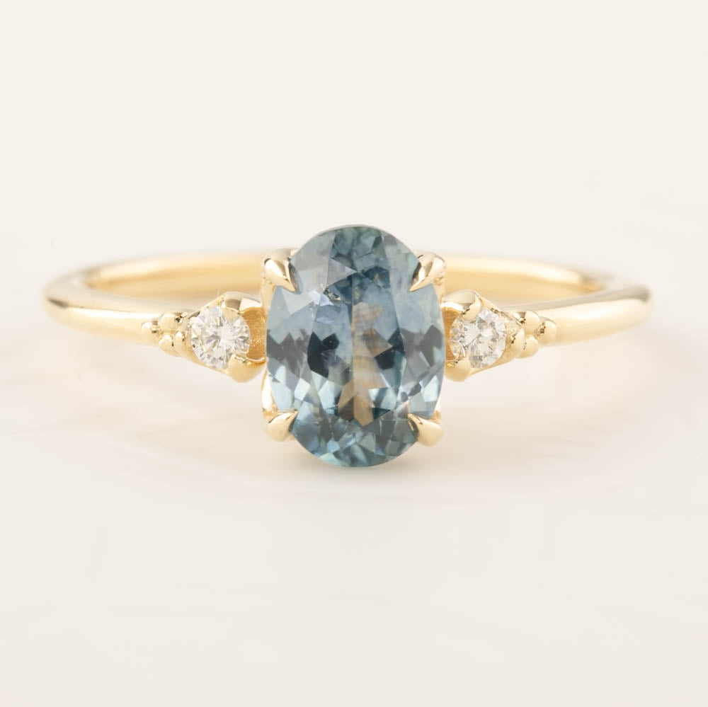 Estel Ring - 1.4ct Light Blue Green Montana Sapphire (One of a kind)