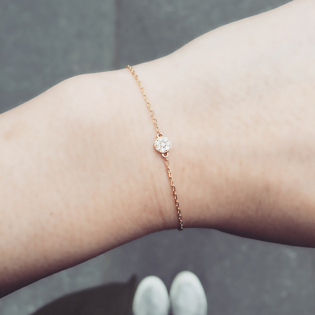 Pave Diamond Moon Bracelet