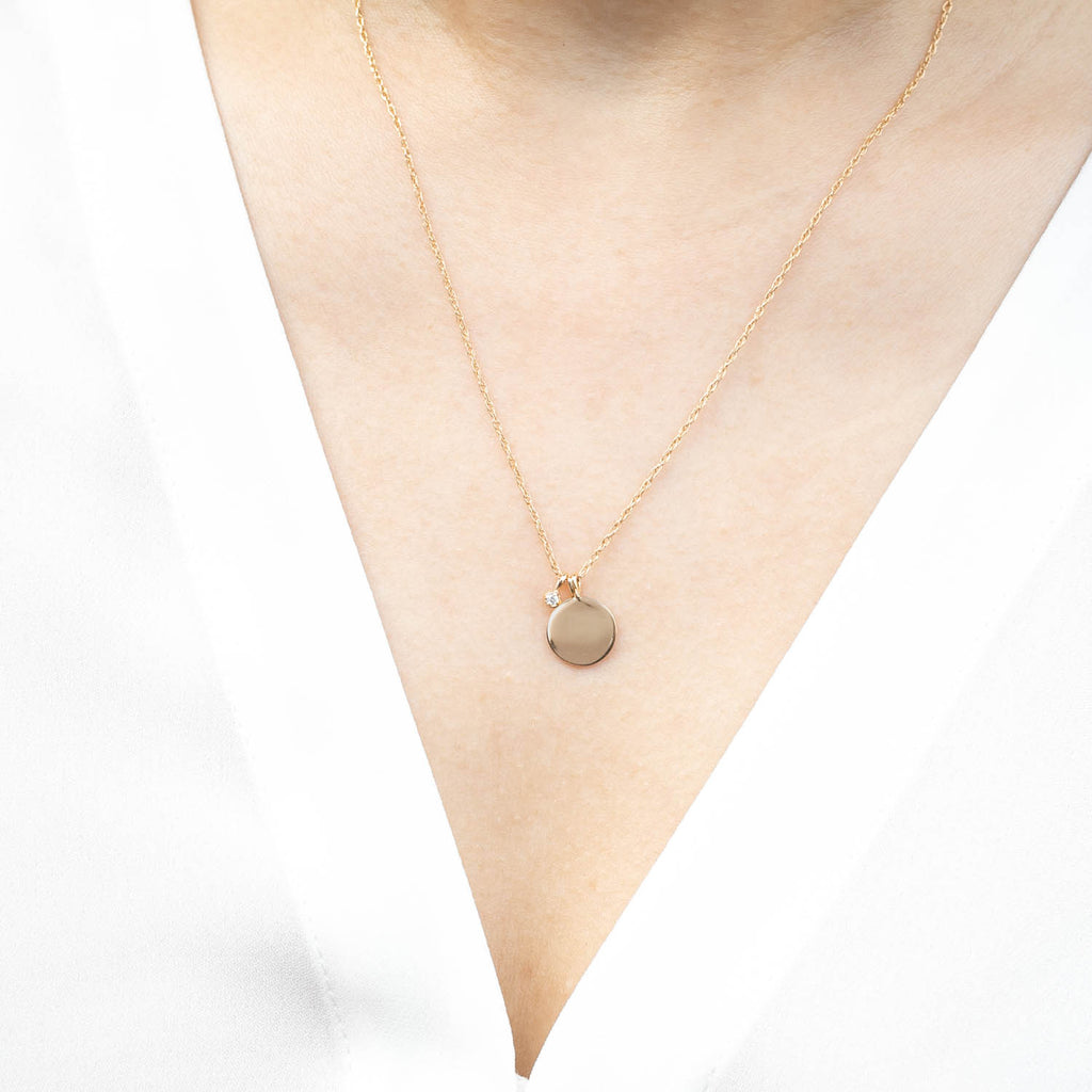 Mommy & Me Initial Disc Dahlia Birthstone Necklace