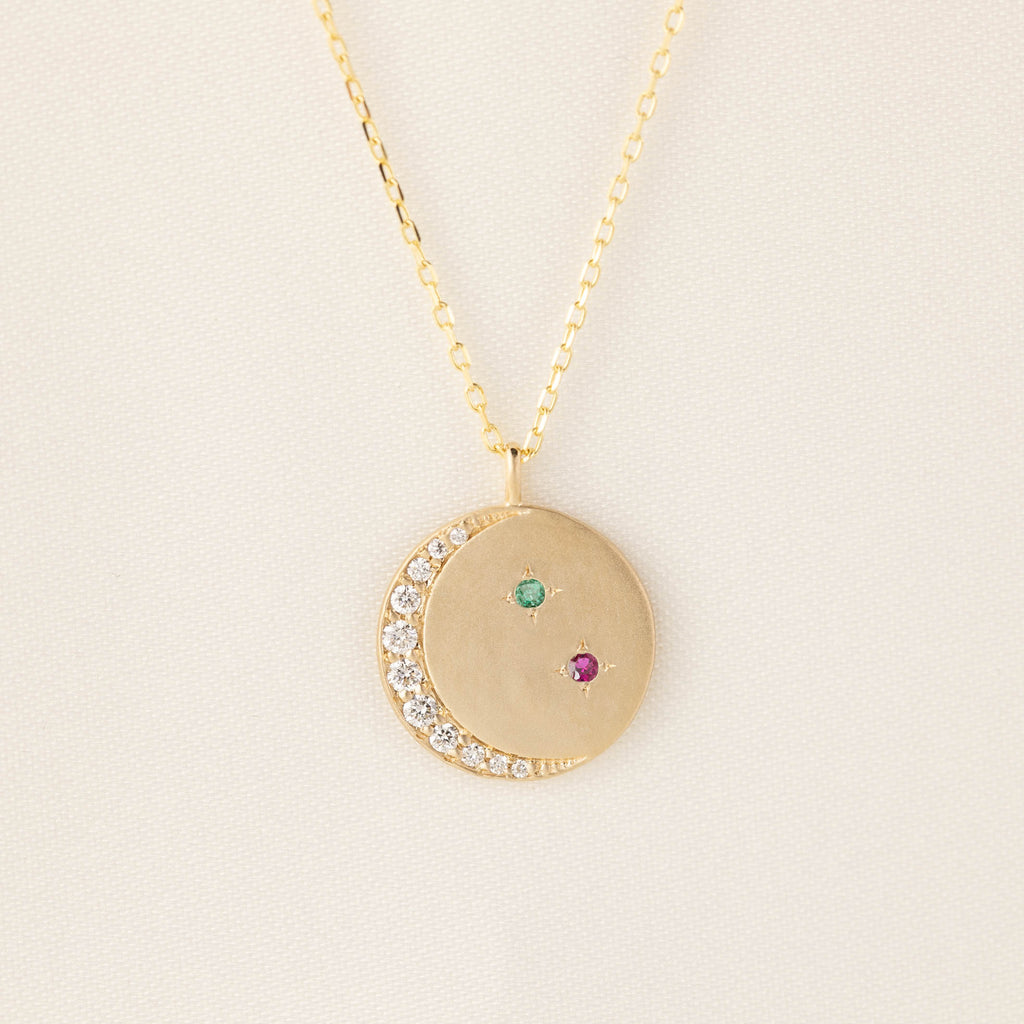 Crescent Birthstone Necklace
