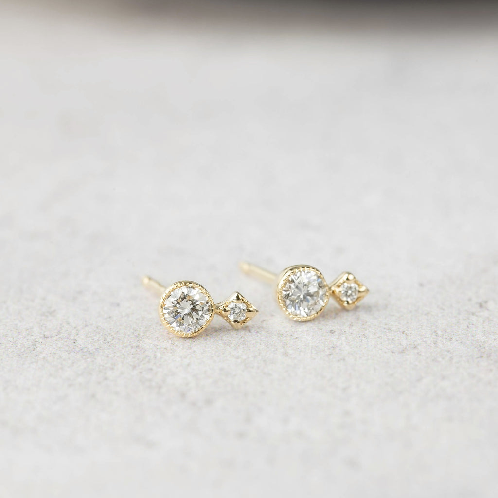 Moon & Star Studs -Diamond
