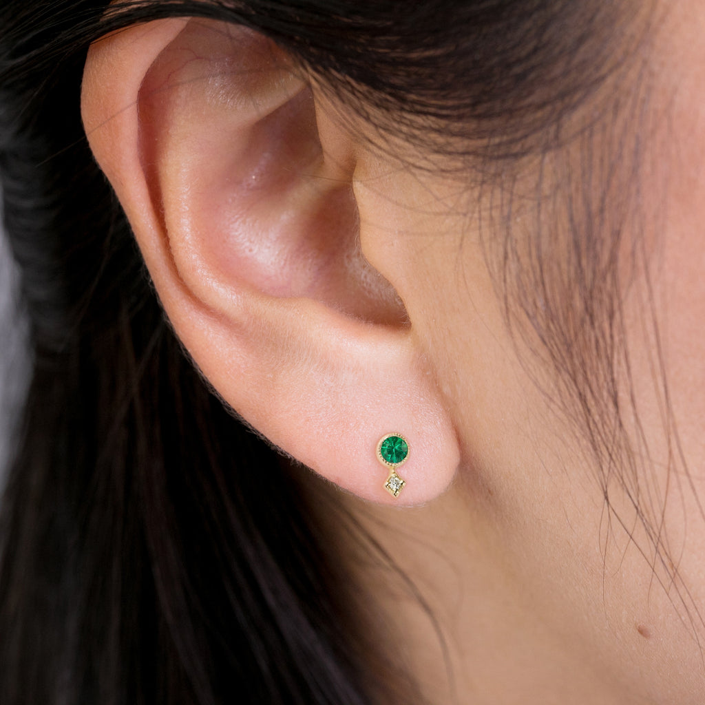 Moon & Star Studs - Emerald