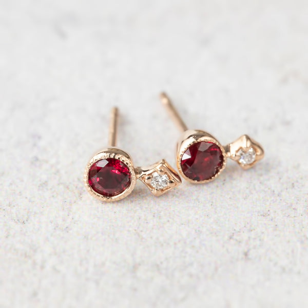 Moon & Star Studs - Ruby