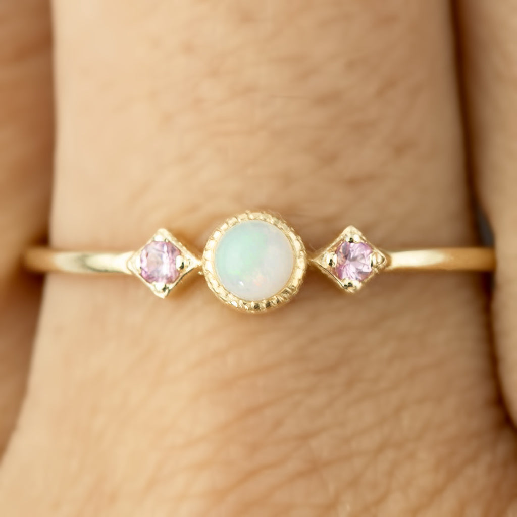 October -  Opal & Pink Sapphire Star Moon Ring