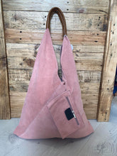 Load image into Gallery viewer, Suede Shoulder bag with Leather Handles