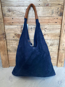 Suede Shoulder bag with Leather Handles