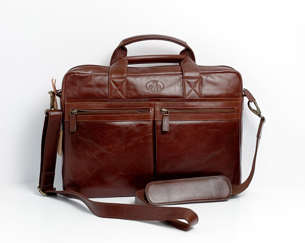 Dark Leather Briefcase from Rowallan of Scotland