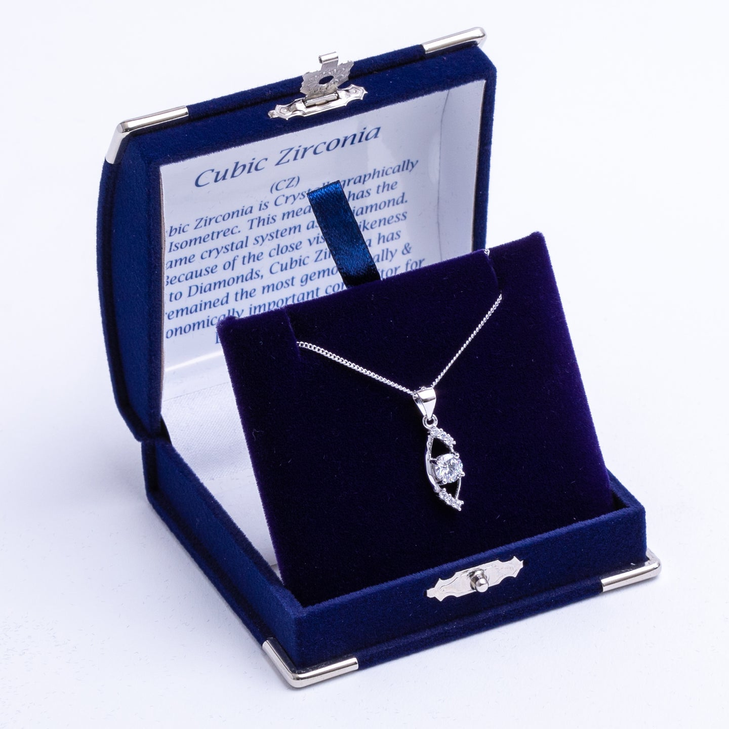Eye-shaped Cubic Zirconia drop necklace