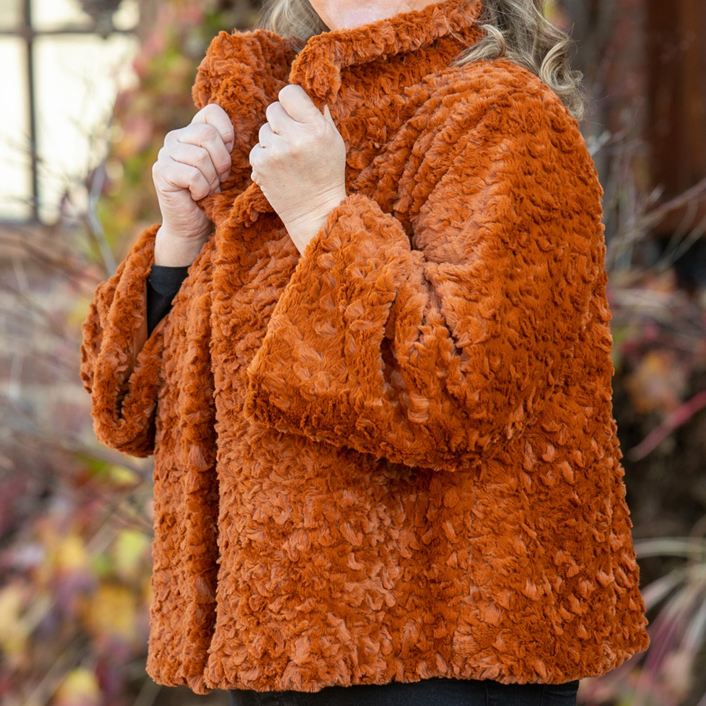 Burnt orange, teddy bear coat