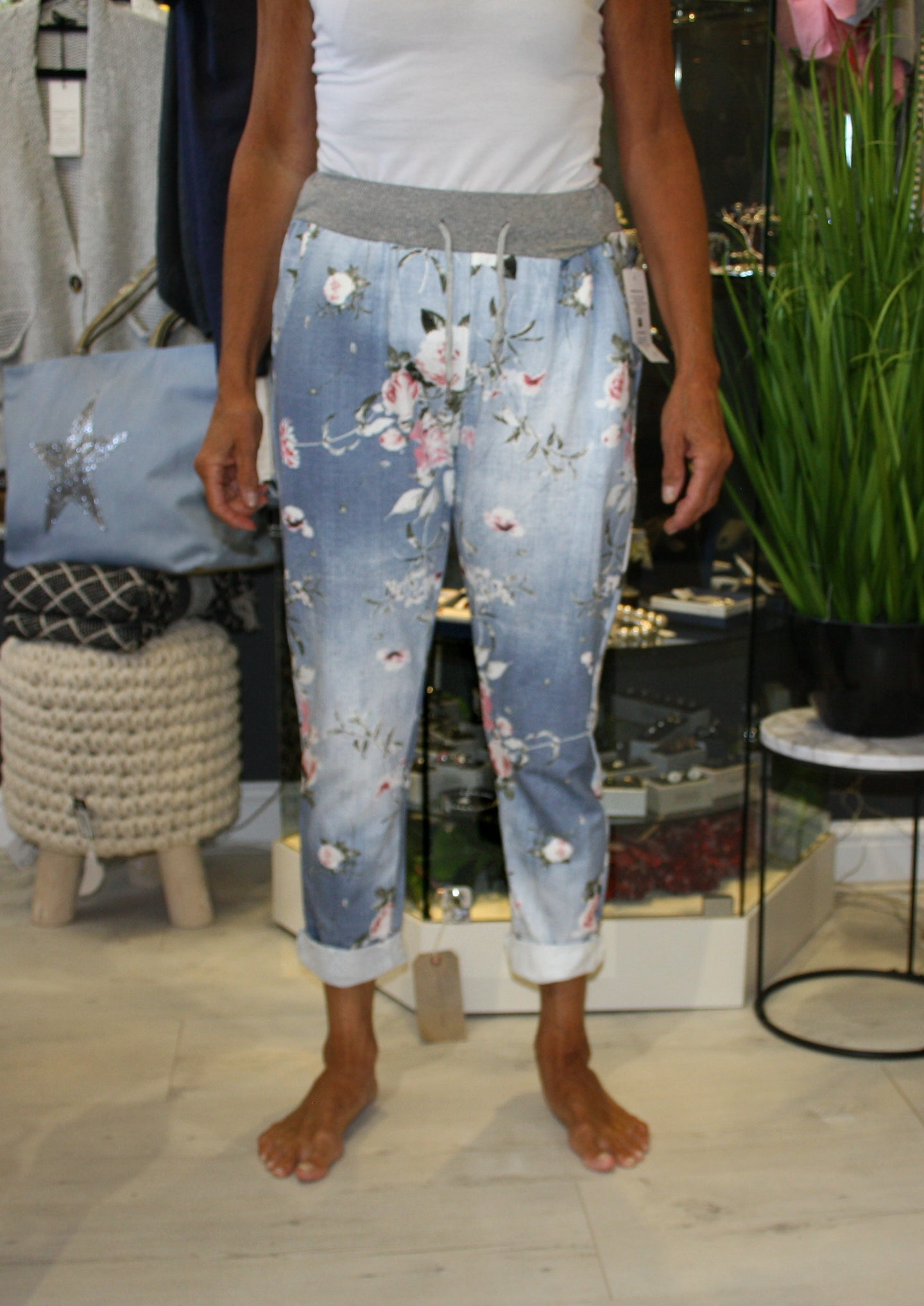 Blue Floral Print Trousers