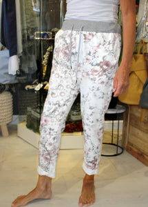 White Floral Print Trousers