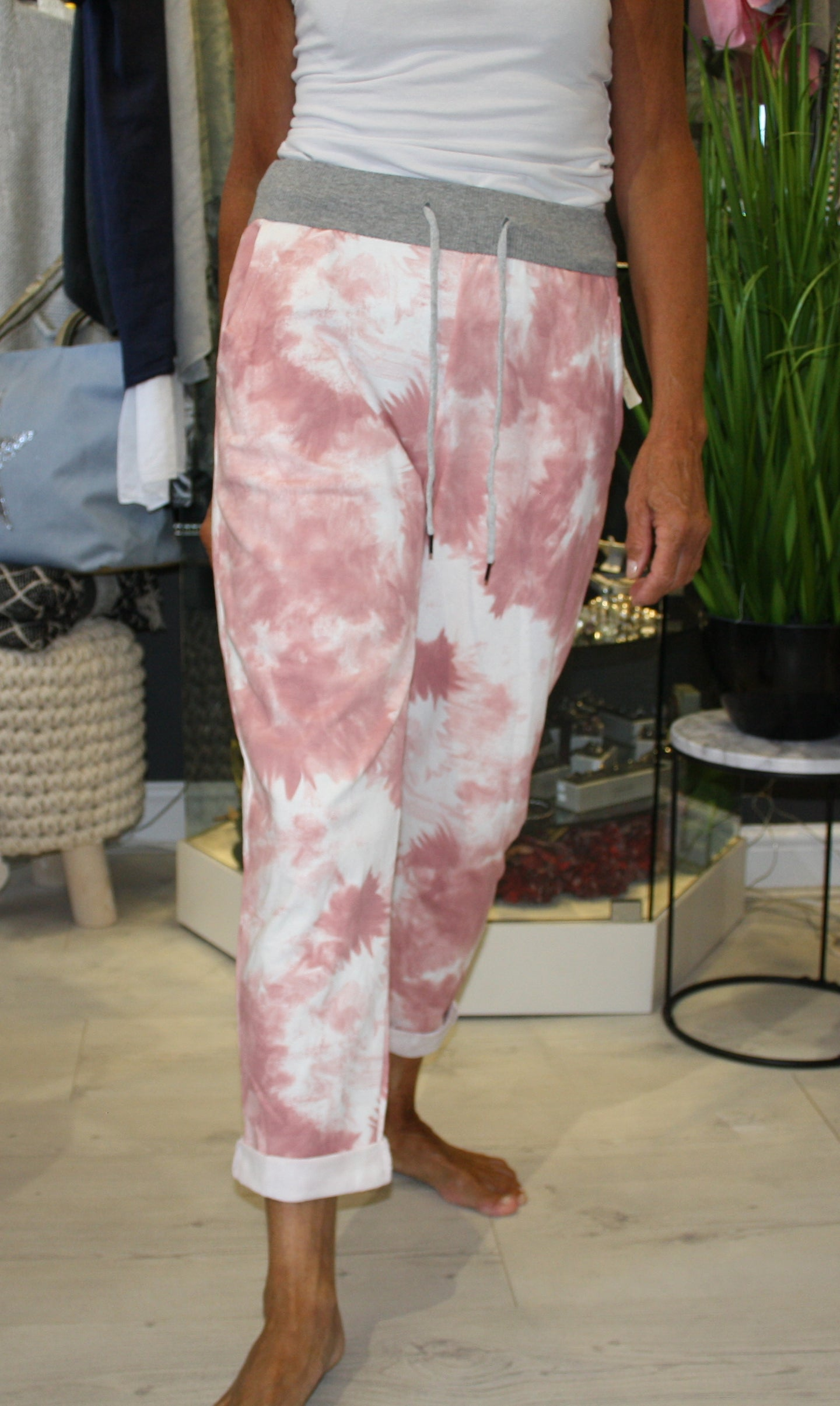 Pink Marble Print Trousers