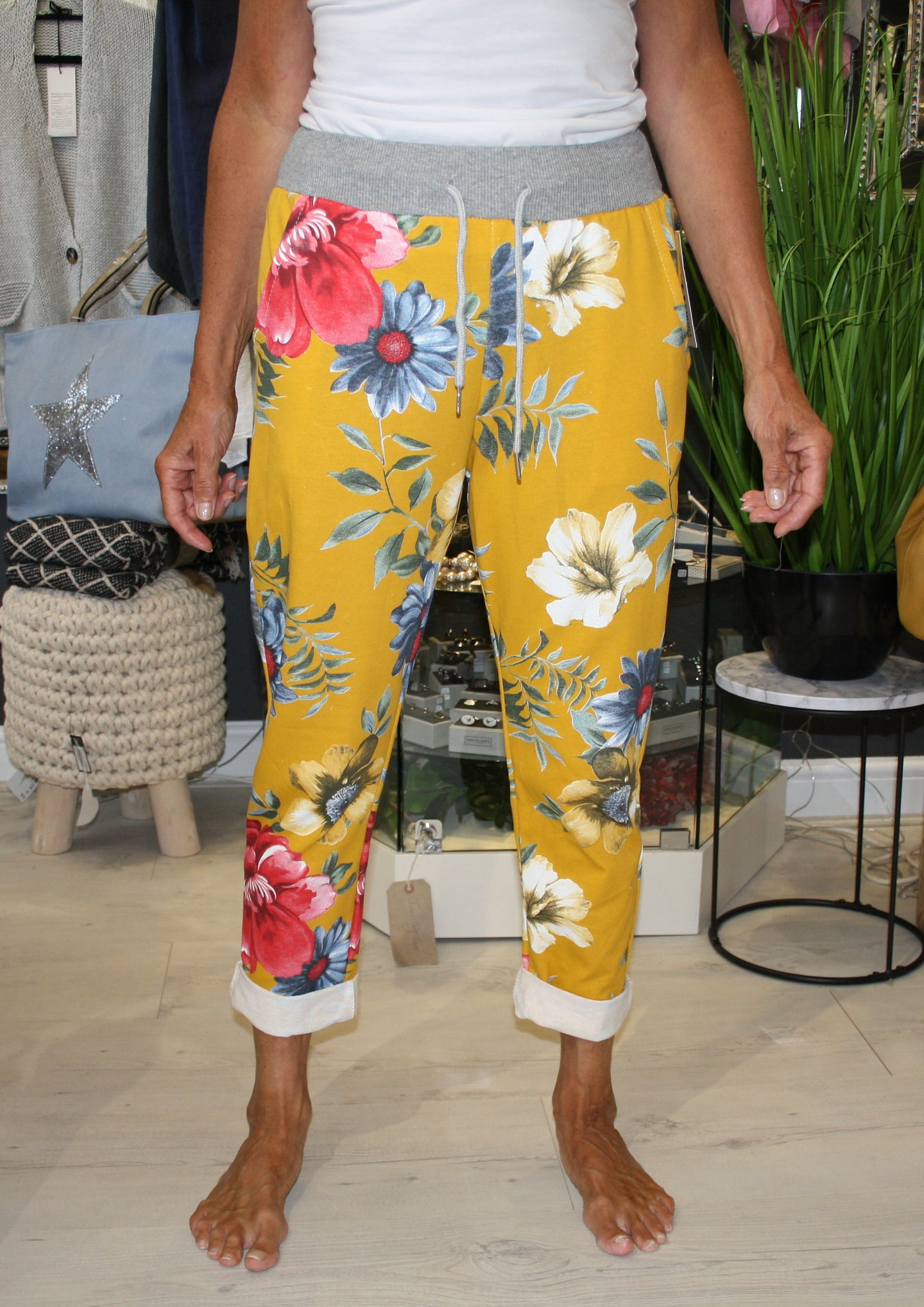 Yellow Floral Print Trousers
