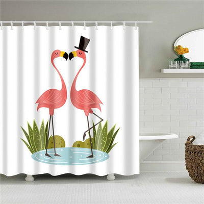 Rideau De Douche Couple De Flamants Roses