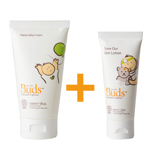 Bundle: Buds Cherished Organics Happy Baby Cream 150ml + Save Our Skin Lotion 50ml
