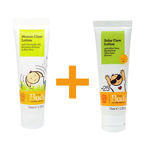 Bundle: Buds Everyday Organics Mozzie Clear Lotion 75ml + Buds Everyday Organics Solar Care Lotion 75ml