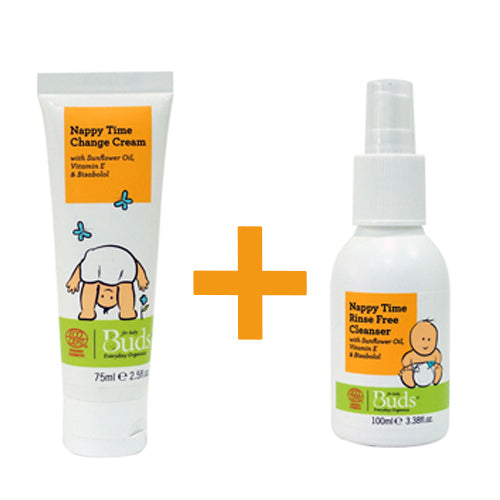 Bundle: Buds Everyday Organics Nappy Time Change Cream 75ml + Buds Everyday Organics Nappy Time Rinse-Free Cleanser 100ml