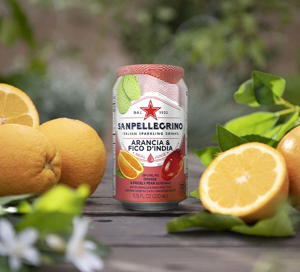 330ml Sparkling Prickly Pear & Orange Water - 24 cans | San Pellegrino