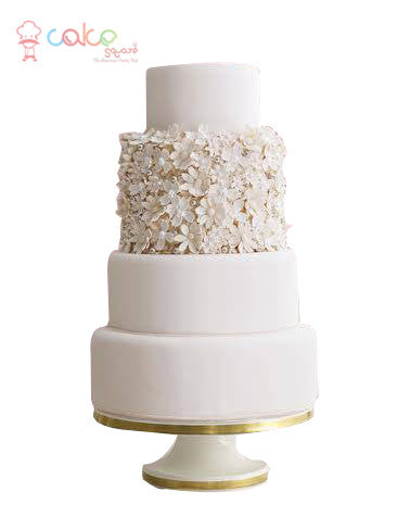 CSDWD286 - White Flower Wedding Cake