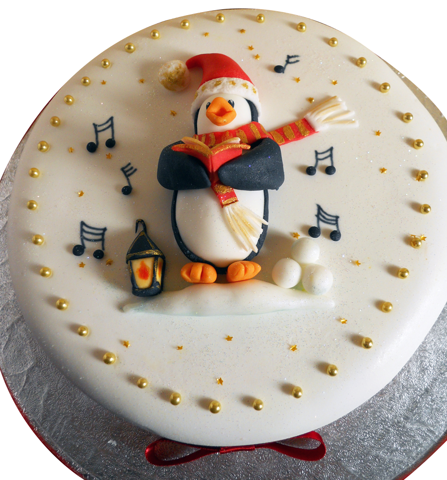 Christmas cake with penguin