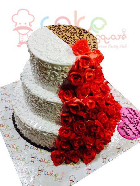 CSDWD235 - Lovely Cake with Red Rose