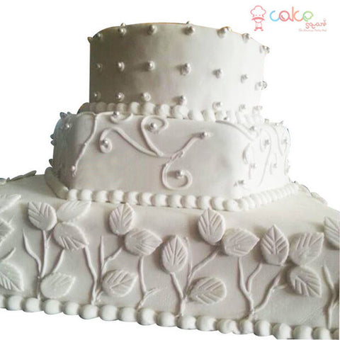 CSDWD300 - White leaf wedding cake