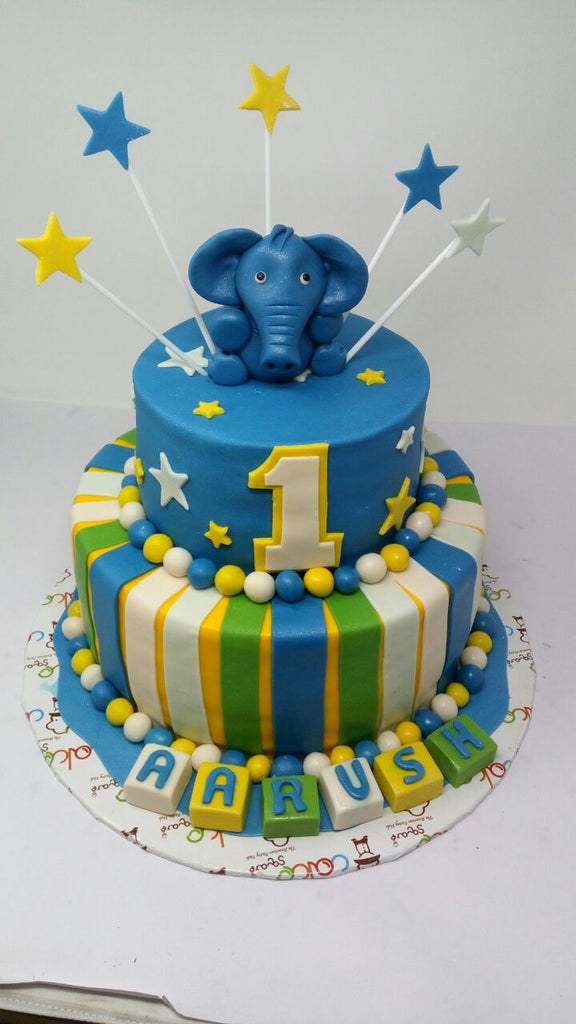 Blue cute elephant cake 5kgbcb (49)