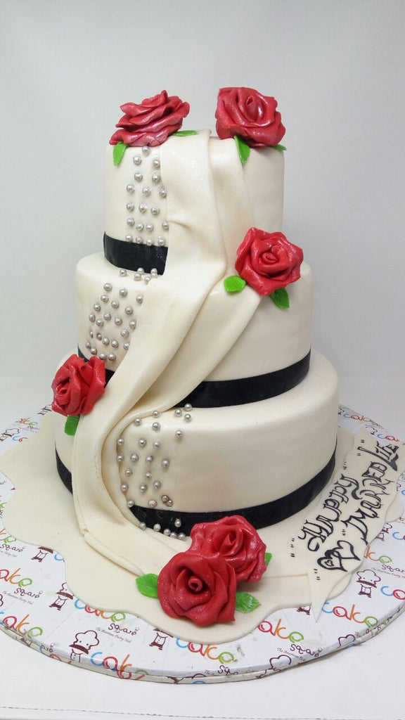 Rose with white dress cake 9kgwc140