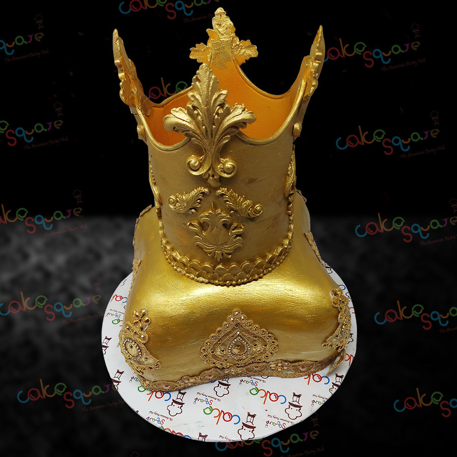 BCB 29091 - Gold Crown Birthday Cake