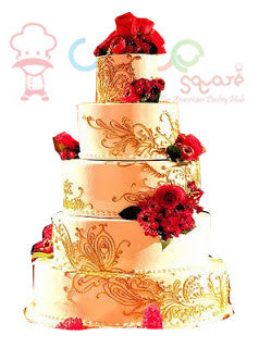 Indian Theme Wedding Cake Henna Cake Square Chennai