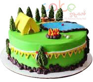 ODC109 Camping Themed Cake -1 Kg Designer Cakes