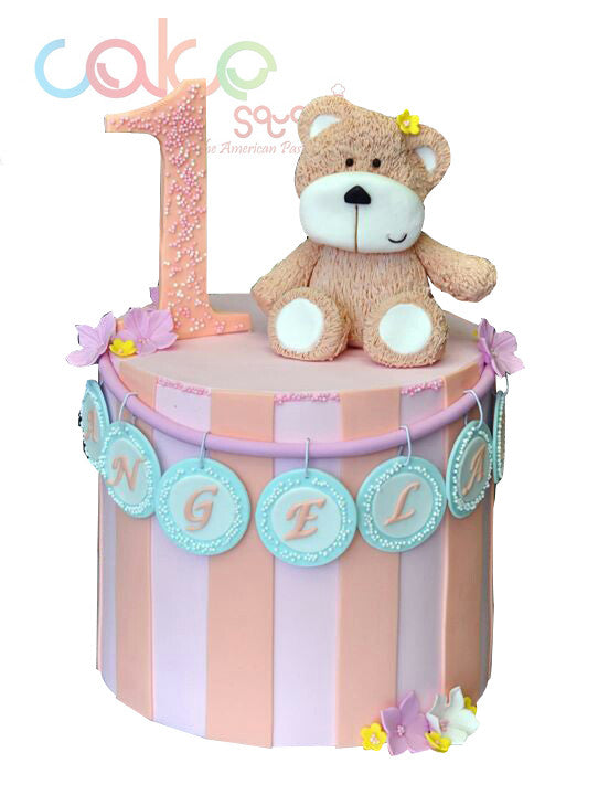 ODC128 First Birthday Cake with Teddy Bear -1Kg Designer Cakes