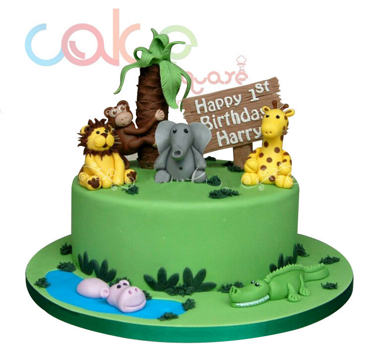 Odc141 Jungle Themed 1st Birthday 1kg Designer Cakes Cake Square