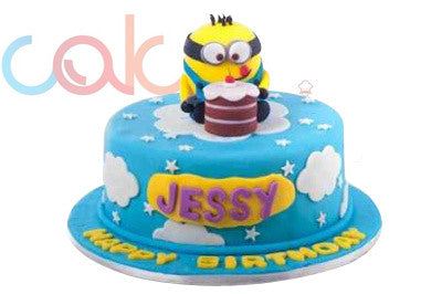 Birthday Cake Images Minions ~ Odc minion themed fondant birthday cake u cake square chennai