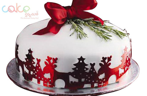 DCC121 Red white-Designer Christmas Cakes